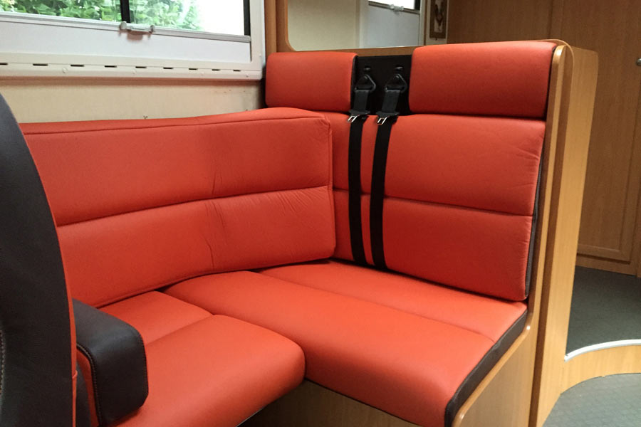 Fiat Motorhome Orange Brown Leather Upholstery